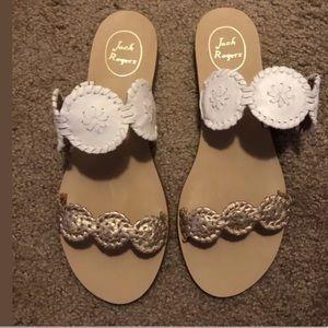 Jack Rodgers Lauren Rose Gold White sandals! Sz 10